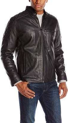 Andrew Marc Men's Garth Leather Moto Jacket with Quilted Shoulders