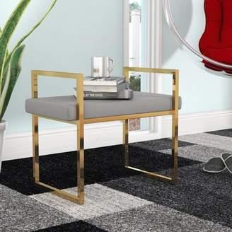 Orren Ellis DeCoursey Contemporary Style Vanity Stool Orren Ellis Frame Color/Seat Color: Gold/Gray