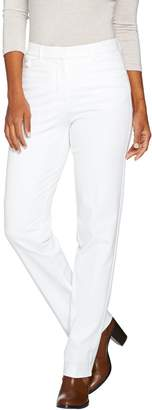 Isaac Mizrahi Live! Petite 24/7 Stretch Straight Leg Fly Front Pants