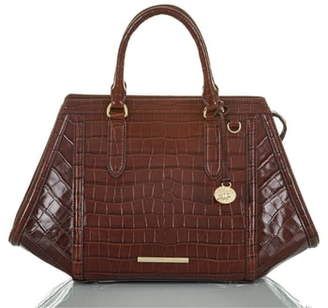 Brahmin Arden Croc Embossed Leather Satchel
