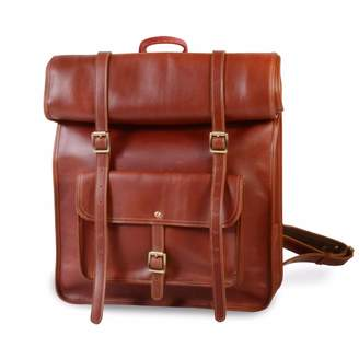 EAZO - Large Roll Top Genuine Leather Backpack In Brown