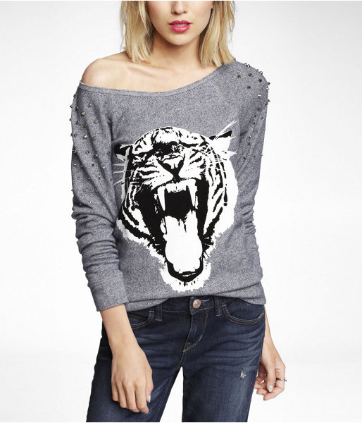 Express Studded Graphic Sweatshirt - Tiger