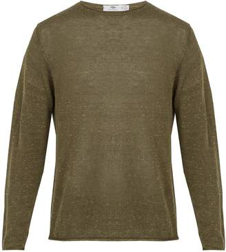 INIS MEÁIN Crew-neck linen-blend sweater