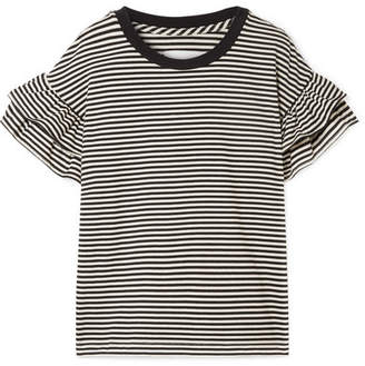 Current/Elliott The Carina Ruffled Striped Jersey T-shirt - Black