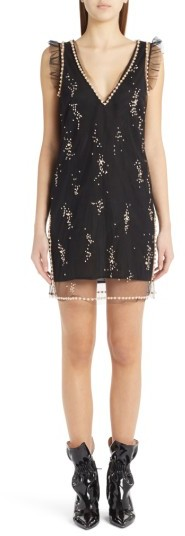 Women's Msgm Imitation Pearl Embellished Tulle Dress