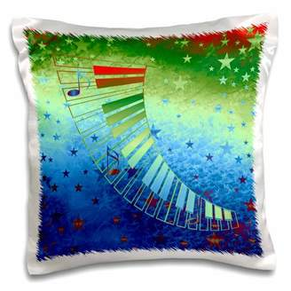 3dRose Keyboard and Music Notes on Stars, Bright Green, Blue, Orange - Pillow Case, 16 by 16-inch