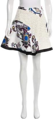 Mary Katrantzou Digital Print Guipure Lace-Accented Skirt