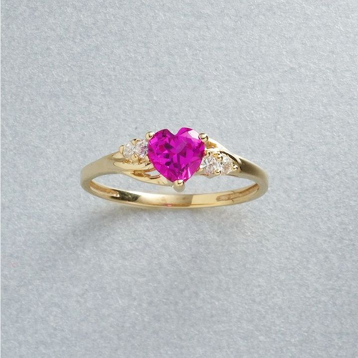 10k Gold Heart-Cut Lab-Created Sapphire Ring