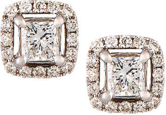 Neiman Marcus Diamonds 14k White Gold Princess-Cut Diamond Stud Earrings, 1.0tcw