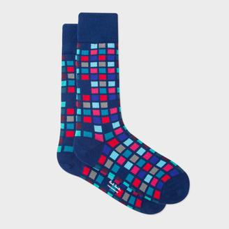 Men's Navy Multi-Coloured Tile Pattern Socks $30 thestylecure.com