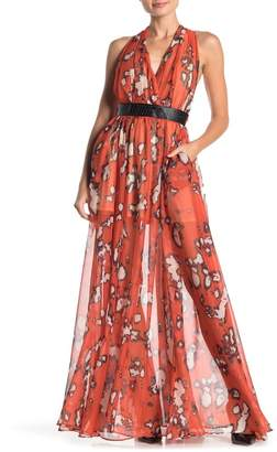 TOV Tie Me Up Faux Leather Trim Maxi Dress