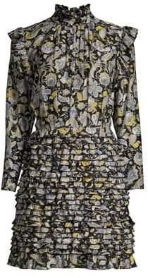 Robert Rodriguez Women's Nikita Cotton& Silk Ruffle Dress - Black Floral - Size 0