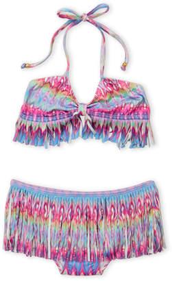 Pilyq Girls 7-16) Two-Piece Rainbow Print Fringed Bikini