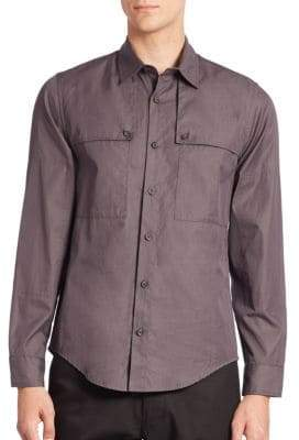 Solid Buttoned Barrel Cuffs Shirt
