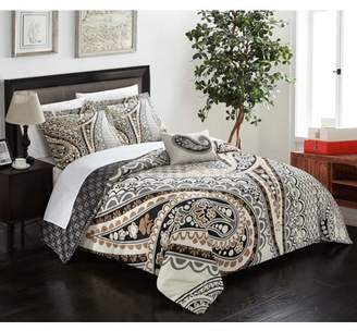 BEIGE Chic Home Cerys 4 Piece Reversible Duvet Cover Set Microfiber Large Scale Paisley Print with Contemporary Geometric Patterned Backing Zipper Closure Bedding with Decorative Shams, King