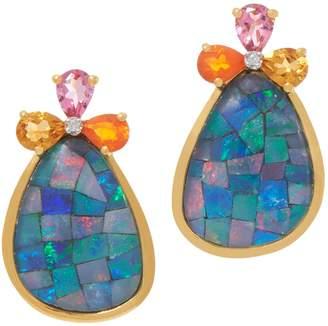 Opal Mosaic and Gemstone Earrings, Sterling Silver