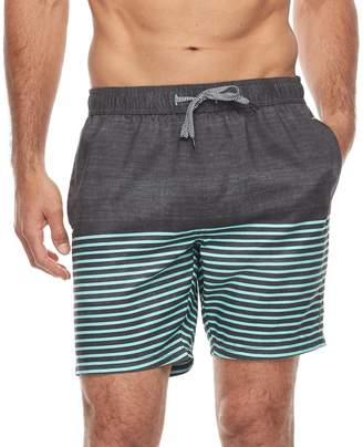 Trunks Men's Trinity Collective Chard Slim-Fit Striped Elastic Swim Shorts