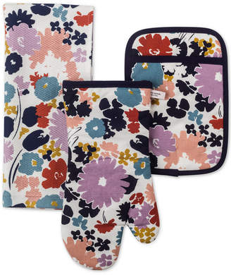 Kate Spade 3-Pc. Swing Flora Kitchen Towel, Oven Mitt & Pot Holder Set