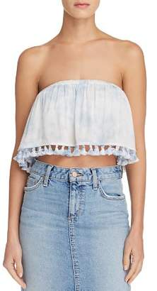 Aqua Tie-Dye Strapless Cropped Top - 100% Exclusive