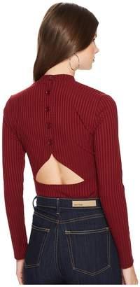 BB Dakota Adria Rib Knit Cut Out Back Mock Neck Top Women's Clothing