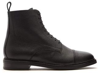Officine Generale Grained Leather Lace Up Boots - Mens - Black