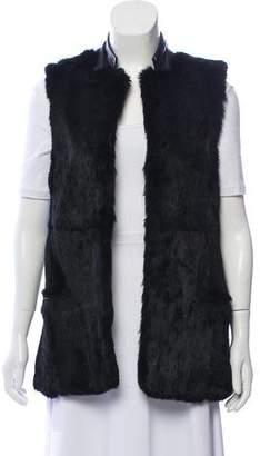 Adrienne Landau Rabbit Fur & Leather Vest