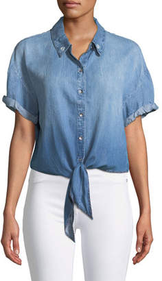 Splendid Roma Tie-Front Short-Sleeve Chambray Top