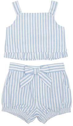 Habitual Luciana Stripe Sleeveless Top w/ Matching Shorts, Size 2-4T