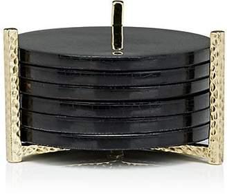 Ginger Brown Set of 6 Pen Shell Coasters & Brass Holder - Black