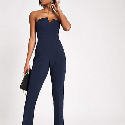 Womens Navy bandeau V trim jumpsuit