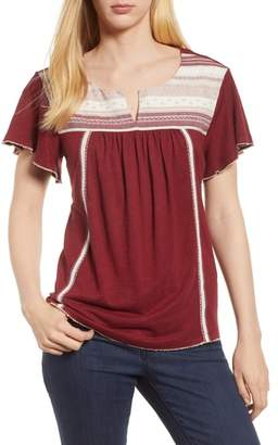 Caslon Embroidered Knit Top