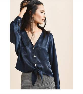 Dynamite Button Up Blouse With Tie MARIANA BLUE