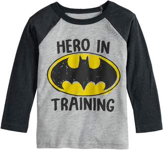 "Justice Toddler Boy Jumping Beans DC Comics Batman ""Hero In Training"" Raglan Graphic Tee"