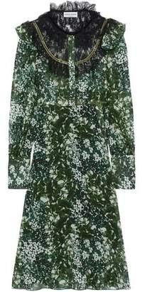Sonia Rykiel Ruffled Lace-Paneled Floral-Print Silk-Chiffon Dress