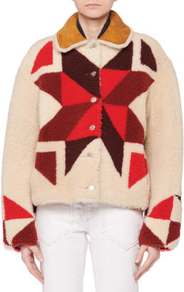Isabel Marant Nordic-Intarsia Button-Front Short Shearling Coat