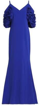 Badgley Mischka Cold-Shoulder Appliquéd Crepe Gown