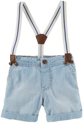 Osh Kosh Oshkosh Light Denim Suspender Shorts Baby Boys