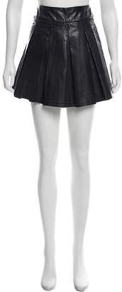 Alice + Olivia Leather Pleated Skirt