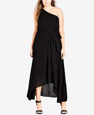 City Chic Trendy Plus Size Cotton One-Shoulder Maxi Dress