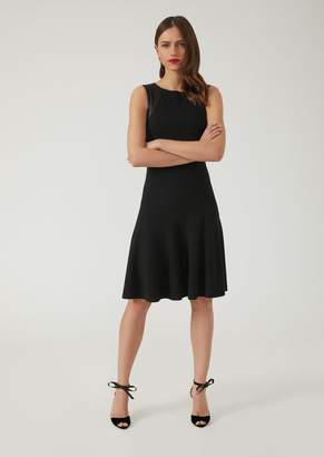 Emporio Armani Ottoman Pleated Dress With Satin Inserts On The Sleeves