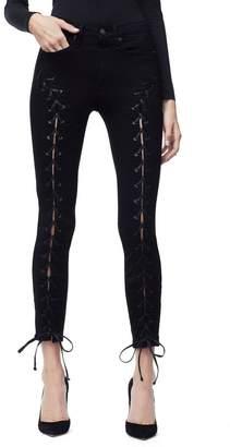 Ga Sale Good Waist Front Lace Up Jeans