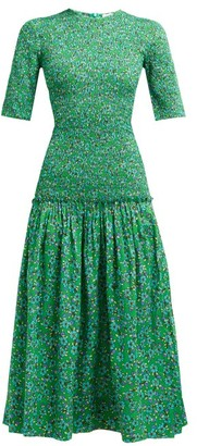 Rhode Resort Zola Shirred Floral Print Cotton Midi Dress - Womens - Green Print