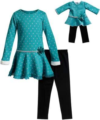 Dollie & Me Girls 4-10 Dot Dress, Leggings & Matching Doll Outfit Set