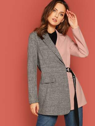 Shein Two Tone D-Ring Belted Blazer