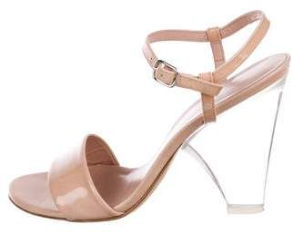 Stuart Weitzman Patent Leather Ankle-Strap Sandals