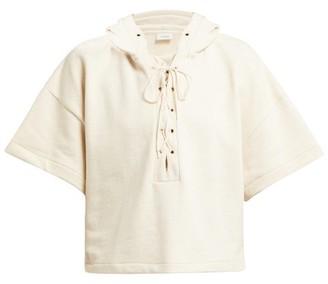 Lemaire Cropped Short Sleeve Cotton Sweatshirt - Womens - Ivory