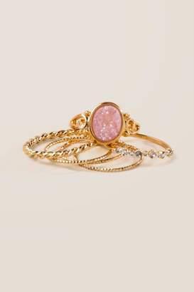 francesca's Hailey Set of 6 Druzy Ring Set - Pale Pink