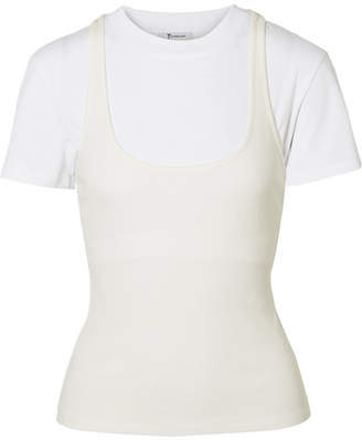 Alexander Wang Layered Jersey And Ribbed Cotton T-shirt - White