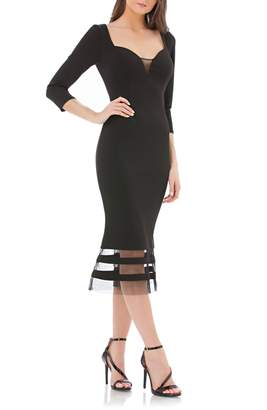 JS Collections Mesh Detail Sweetheart Body-Con Dress