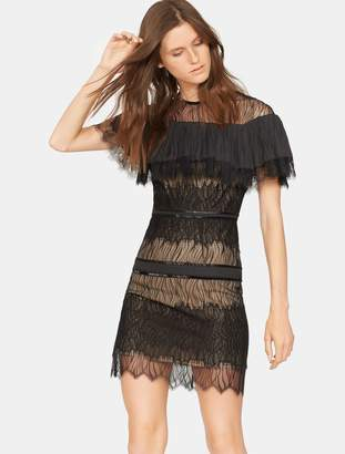 Halston Beaded Pleated Lace Dress